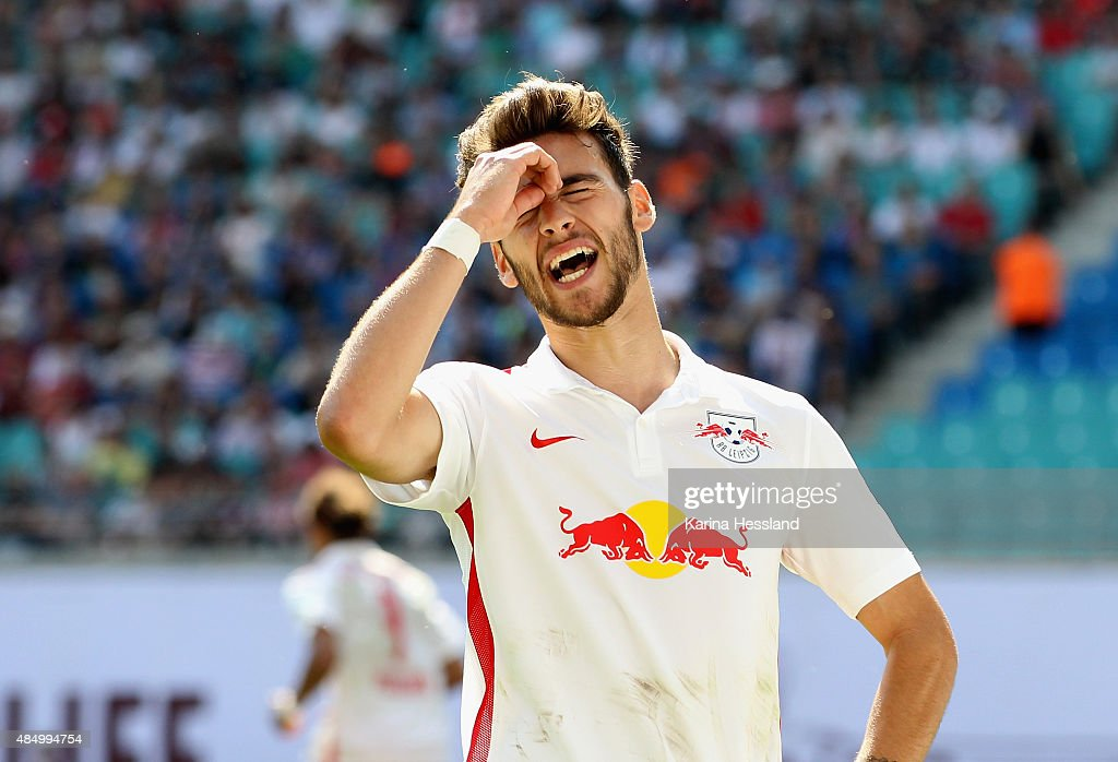 Massimo Bruno of Leipzig looks dejected during the Second League match between RB Leipzig and FC St.Pauli at Red-Bull Arena on August 23, 2015 in Leipzig, Germany.