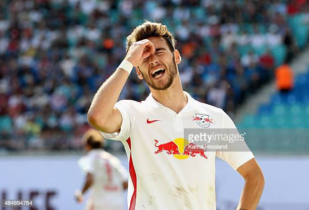 Massimo Bruno of Leipzig looks dejected during the Second League match between RB Leipzig and FC StPauli at RedBull Arena on August 23 2015 in...