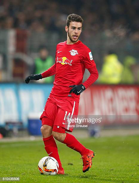 Massimo Bruno of Leipzig runs with the ball during the Second Bundesliga match between FC St Pauli and RB Leipzig at Millerntor Stadium on February...