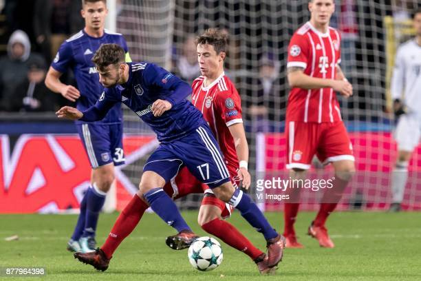 Massimo Bruno of RSC Anderlecht Marco Friedl of FC Bayern Munich during the UEFA Champions League group B match between RSC Anderlecht and Bayern...