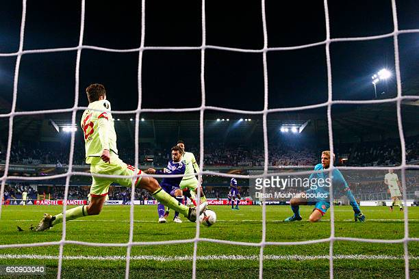 Massimo Bruno of RSC Anderlecht scores his team's sixth goal during the UEFA Europa League Group C match between RSC Anderlecht and 1 FSV Mainz 05 at...