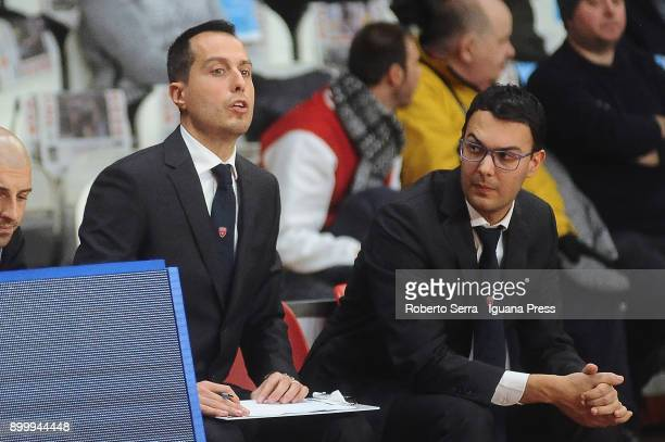 Massimo Bulleri and Matteo Jemoli assistans coach of Openjobmetis looks over during the LBA LegaBasket of Serie A match between Openjobmetis Varese...