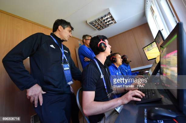Massimo Busacca, FIFA head of Refeering oversees at training session of Video Assistant Referees on June 15, 2017 in St. Petersburg, Russia.