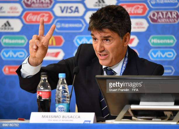Massimo Busacca, FIFA head of refereeing talks with the media during a press conference about refereeing and new rules in football at the Zenit Arena...