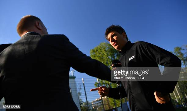 Massimo Busacca, FIFA head of Refereering gives an interview after a training session of Video Assistant Referees on June 15, 2017 in St. Petersburg,...