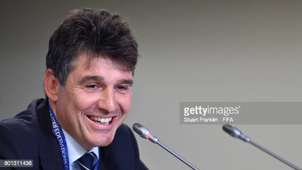 Massimo Busacca FIFA head of referees talks to the media during the half time press conference at the Saint Petersburg Stadium on June 26 2017 in...