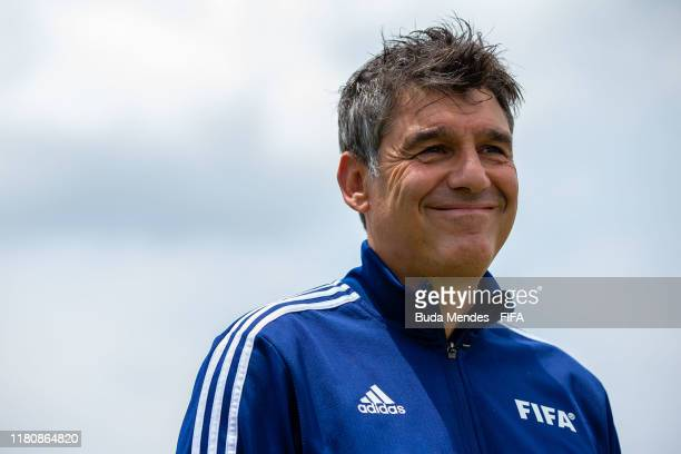Massimo Busacca, Fifa's head of refereeing, speaks to the media during the training session ahead of the FIFA U-17 Men's World Cup Brazil 2019 at...