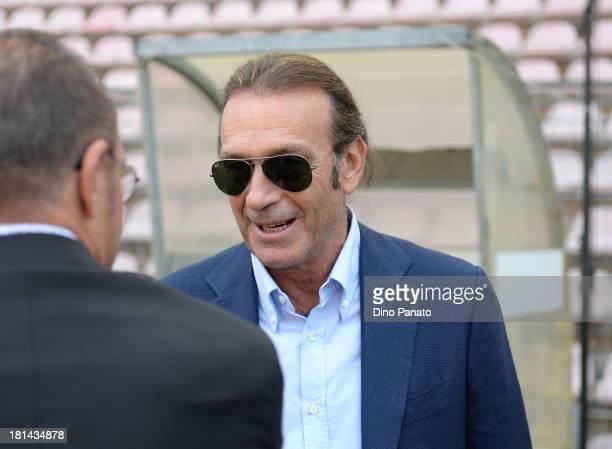 Massimo Cellino president of Cagliari Calcio looks on before the Serie A match between Cagliari Calcio and UC Sampdoria at Stadio Nereo Rocco on...