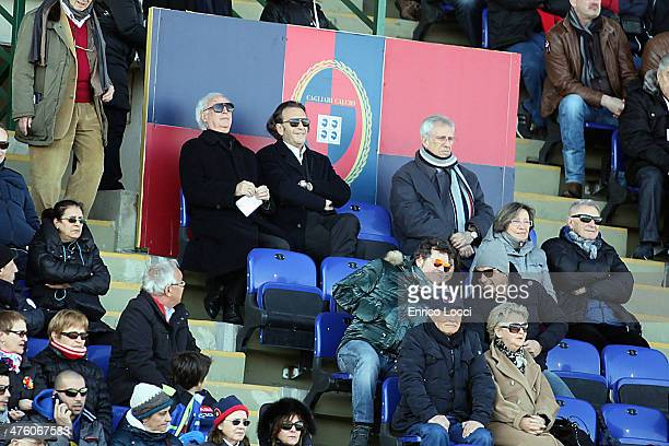 Massimo Cellino president of Cagliari looks on during the Serie A match between Cagliari Calcio and Udinese Calcio at Stadio Sant'Elia on March 2...