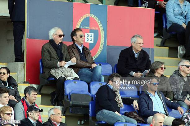 Massimo Cellino president of Cagliari looks on during the Serie A match between Cagliari Calcio and AS Roma at Stadio Sant'Elia on April 6 2014 in...