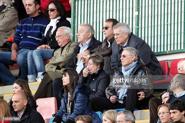 Massimo Cellino watches the action from the stands during the Serie A match between Cagliari Calcio and Parma FC at Stadio Sant'Elia on December 11...