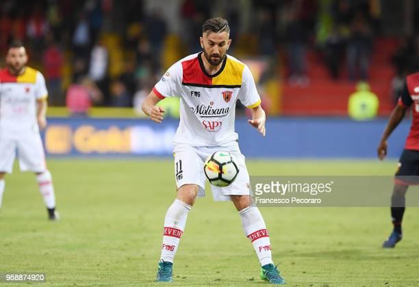 Massimo Coda of Benevento Calcio in action during the serie A match between Benevento Calcio and Genoa CFC at Stadio Ciro Vigorito on May 12 2018 in...