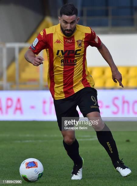 Massimo Coda of Benevento Calcio in action during the Serie B match between Benevento Calcio and Crotone FC at Stadio Ciro Vigorito on November 23...