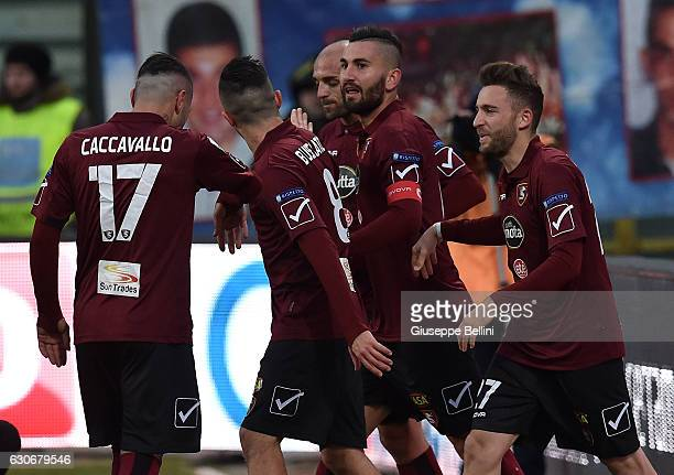 Massimo Coda of US Salernitana celebrates after scoring the goal 20 during the Serie B match between US Salernitana and AC Perugia at Stadio Arechi...