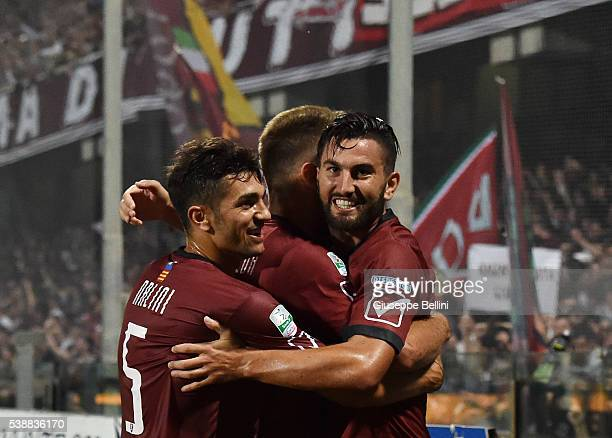 Massimo Coda of US Salernitana celebrates after scoring the opening goal during the Serie B Playout Final between US Salernitana and Virtus Lanciano...