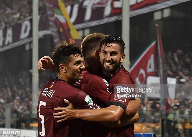 Massimo Coda of US Salernitana celebrates after scoring the opening goal during the Serie B Playout Final between US Salernitana and Virtus Lanciano...