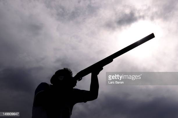 Massimo Fabbrizi of Italy competes in the Men's Trap Shooting Final on Day 10 of the London 2012 Olympic Games at the Royal Artillery Barracks on...