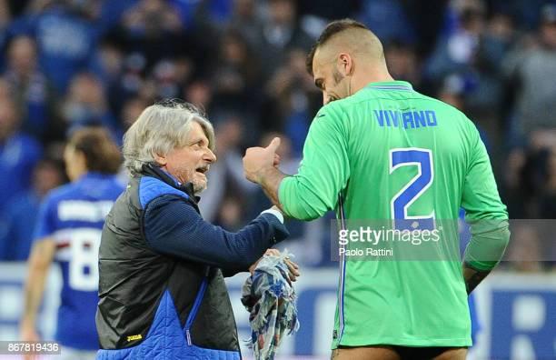 Massimo Ferrero and the goalkeeper Emiliano Viviano during the Serie A match between UC Sampdoria and AC Chievo Verona at Stadio Luigi Ferraris on...