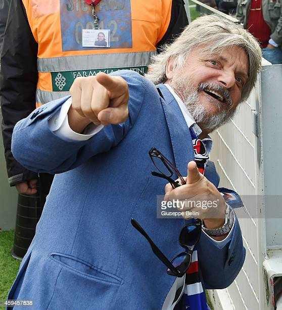 Massimo Ferrero President of Sampdoria during the Serie A match between AC Cesena and UC Sampdoria at Dino Manuzzi Stadium on November 23, 2014 in...