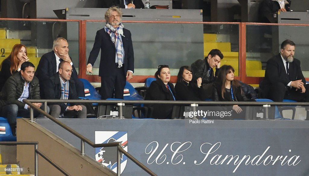Massimo Ferrero, Sampdoria President in the stands during the serie A match between UC Sampdoria and Bologna FC at Stadio Luigi Ferraris on April 18, 2018 in Genoa, Italy.