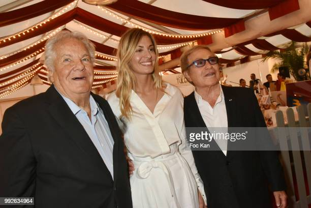 Massimo Gargia actress Sveva Alviti and producer Orlando attend 'La Femme Dans Le Siecle' Dinner on July 5 2018 in Paris France