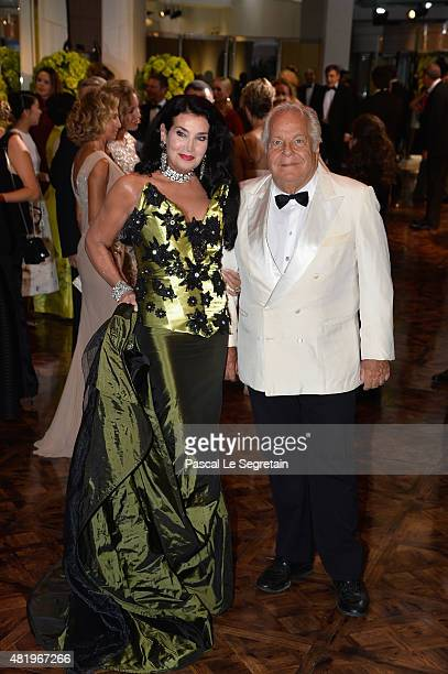 Massimo Gargia and Lamia Khashoggi attend the Monaco Red Cross Gala on July 25 2015 in MonteCarlo Monaco