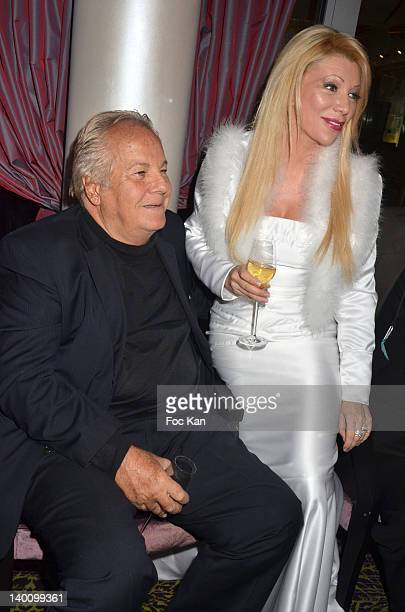 Massimo Gargia and Nadine Rodd attend the Nadine Rodd Wedding Cocktail Party at Salon Diane at the Fouquet's on February 27 2012 in Paris France