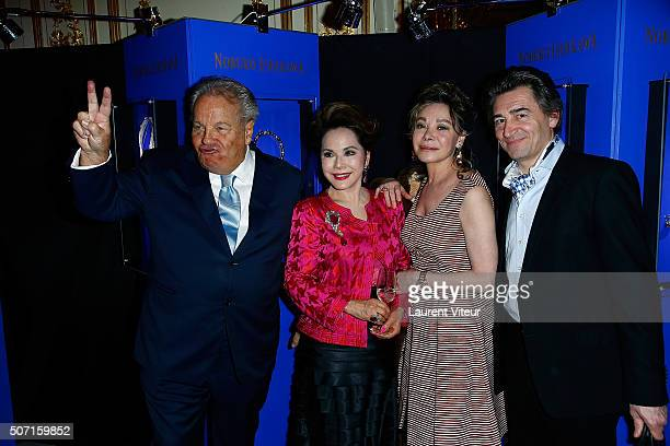 Massimo Gargia Dewi Sukarno Grace de Capitani and JeanPierre Jacquin attend the Nobuku Ishikawa Jewellery Exhibition Cocktail at Le Meurice as part...