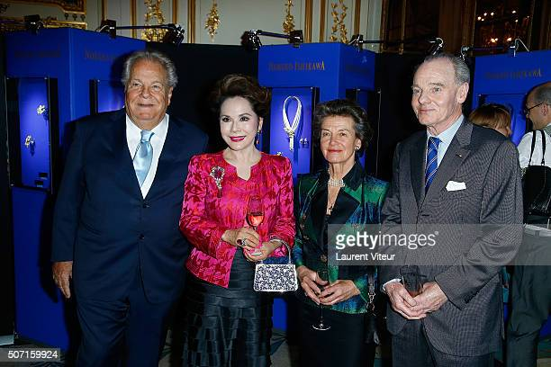 Massimo Gargia Dewi Sukarno Princess and Prince Constantin Mourousy attend the Nobuku Ishikawa Jewellery Exhibition Cocktail at Le Meurice as part of...