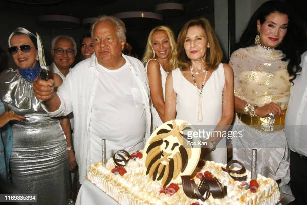 Massimo Gargia Sylvie Elias Marshall Joyce Ruben and Lamia Khashoggi attend the Massimo Gargia Birthday Party at Hotel de Paris in Saint Tropez on...