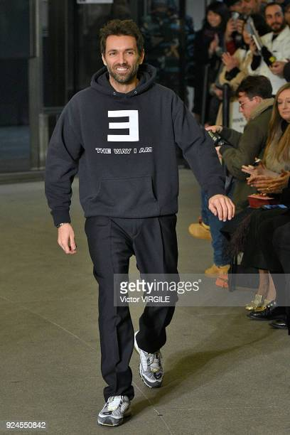 Massimo Giorgetti walks the runway at the MSGM Ready to Wear Fall/Winter 20182019 fashion show during Milan Fashion Week Fall/Winter 2018/19 on...