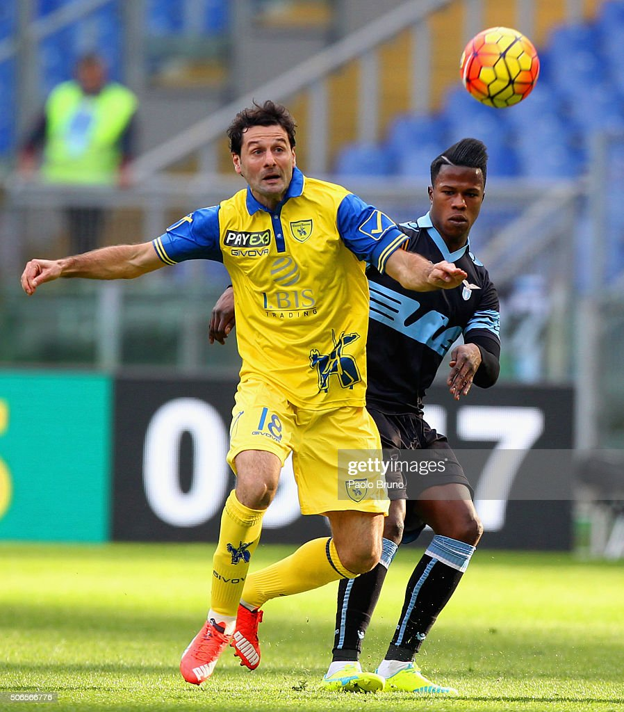Massimo Gobbi (L) of AC Chievo Verona competes for the ball with Diao Balde Keita of SS Lazio during the Serie A match between SS Lazio and AC Chievo Verona at Stadio Olimpico on January 24, 2016 in Rome, Italy.