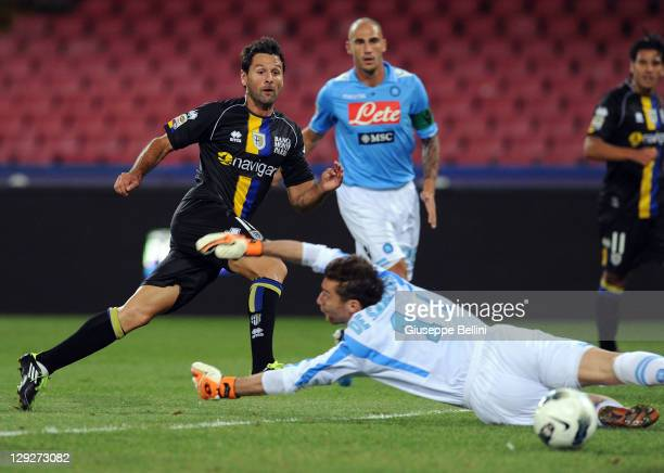 Massimo Gobbi of Parma scores the opening goal during the Serie A match between SSC Napoli and Parma FC at Stadio San Paolo on October 15 2011 in...
