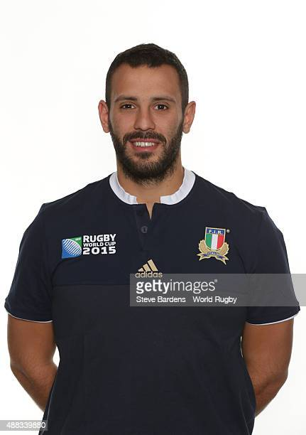 Massimo Lombardo of Italy poses during the Italy Rugby World Cup 2015 squad photo call at the Radisson Blu on September 15 2015 in Guildford England