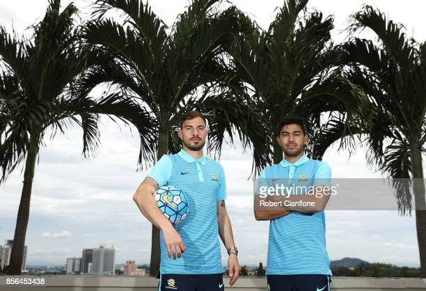 Massimo Luongo and James Troisi of Australia pose during an Australia Socceroos media opportunity on October 2 2017 in Malacca Malaysia