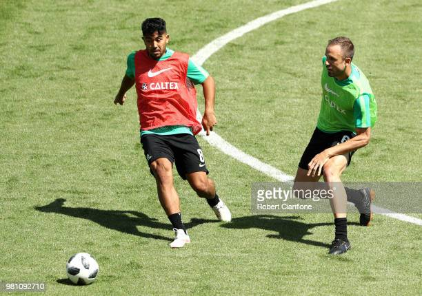 Massimo Luongo and Matthew Jurman of Australia during an Australian Socceroos training session at Stadium Trudovye Rezervy on June 22 2018 in Kazan...