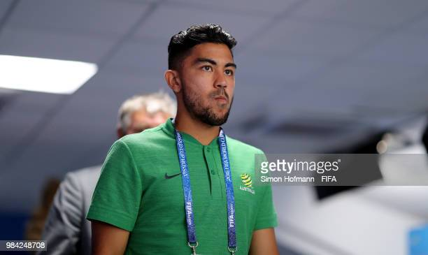 Massimo Luongo of Australia arrives at the stadium prior to the 2018 FIFA World Cup Russia group C match between Australia and Peru at Fisht Stadium...