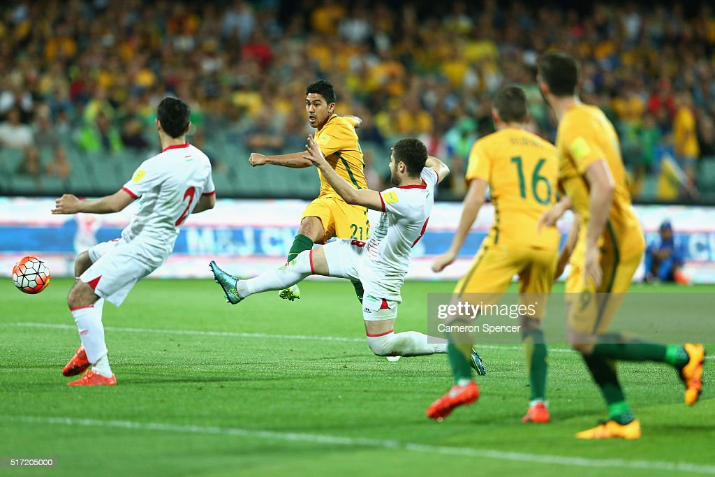 Massimo Luongo of Australia attempts a shot at goal during the 2018 FIFA World Cup Qualification match between the Australia Socceroos and Tajikistan at the Adelaide Oval on March 24, 2016 in Adelaide, Australia.