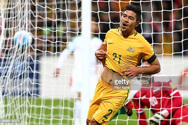 Massimo Luongo of Australia celebrates a goal during the 2018 FIFA World Cup Qualifier match between the Australian Socceroos and Iraq at nib Stadium...