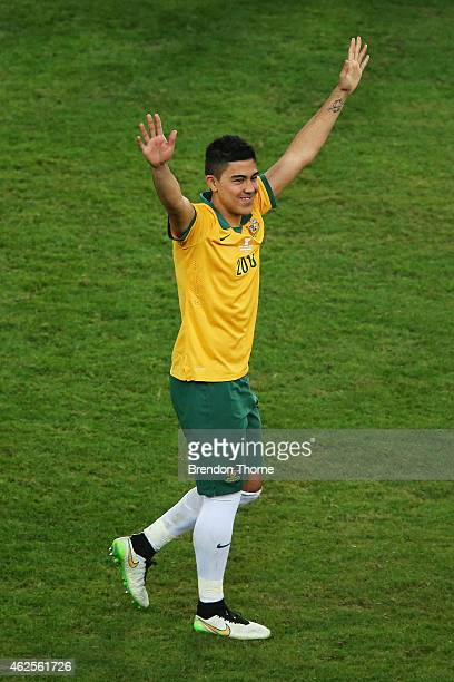 Massimo Luongo of Australia celebrates after receiving the MVP award following the 2015 Asian Cup final match between Korea Republic and the...