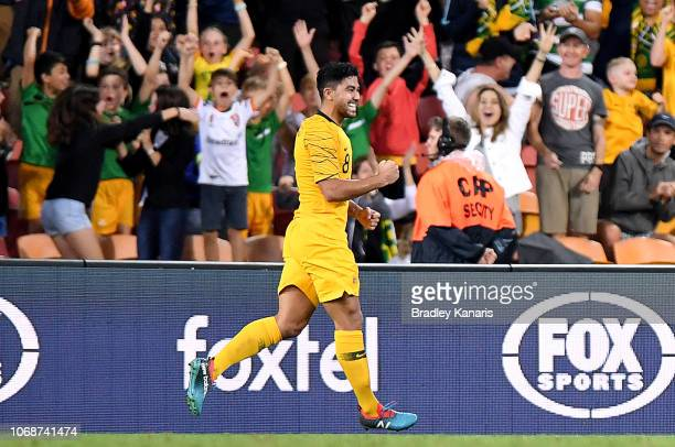 Massimo Luongo of Australia celebrates scoring a goal during the international friendly match between the Australian Socceroos and Korea Republic at...