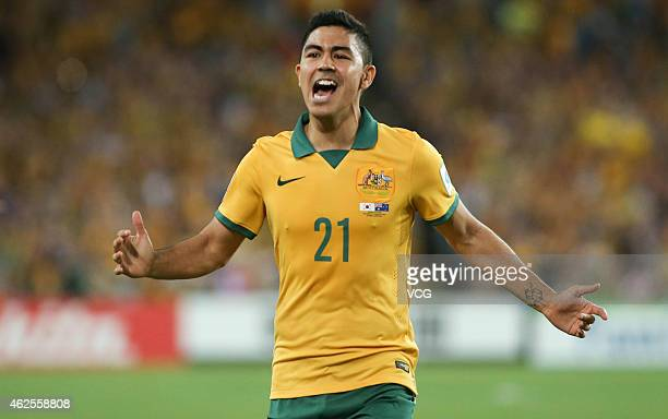 Massimo Luongo of Australia celebrates scoring during the 2015 Asian Cup final match between Korea Republic and the Australian Socceroos at ANZ...