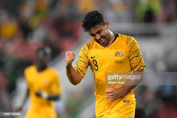 Massimo Luongo of Australia celebrates scoring his teams first goal during the International Friendly match between the Australian Socceroos and...