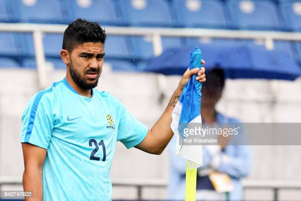 Massimo Luongo of Australia in action during an Australia training session at Saitama Stadium ahead of the FIFA World Cup qualifier against Japan on...