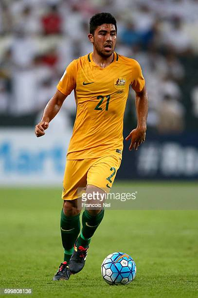 Massimo Luongo of Australia in action during the 2018 FIFA World Cup Qualifier match between UAE and Australia at Mohamed Bin Zayed Stadium on...