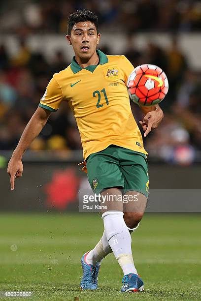 Massimo Luongo of Australia passes the ball during the 2018 FIFA World Cup Qualification match between the Australian Socceroos and Bangladesh at nib...