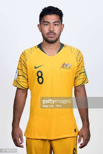 Massimo Luongo of Australia poses for a portrait during the official FIFA World Cup 2018 portrait session at Trudovyne Rezeny on June 11 2018 in...