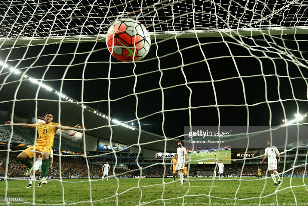 Massimo Luongo of Australia scores a goal during the 2018 FIFA World Cup Qualification match between the Australian Socceroos and Jordan at Allianz Stadium on March 29, 2016 in Sydney, Australia.