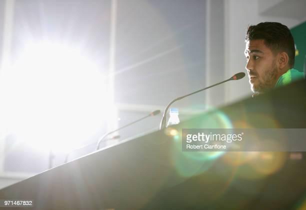 Massimo Luongo of Australia speaks to the media during an Australian Socceroos press conference at Stadium Trudovye Rezervy on June 11 2018 in Kazan...