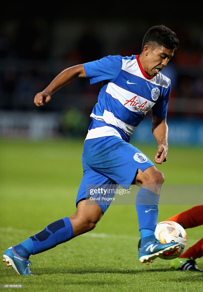 Massimo Luongo of QPR runs with the ball during the pre season friendly match between Queens Park Rangers and Dundee United at The Hive on July 22, 2015 in Barnet, England.